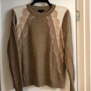 J crew tan lace sweater Large
